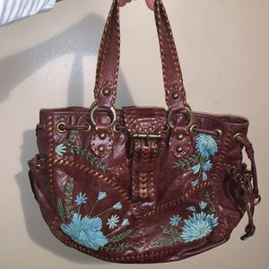 Isabella Fiore Brown hobo bag w floral detail